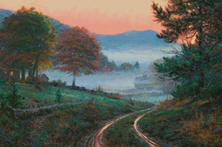 cross stitch pattern Morning in Cades Cove