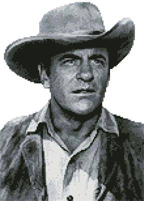 cross stitch pattern Mini James Arness