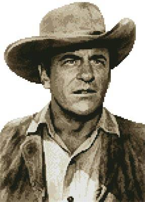 cross stitch pattern Mini James Arness (Sepia)