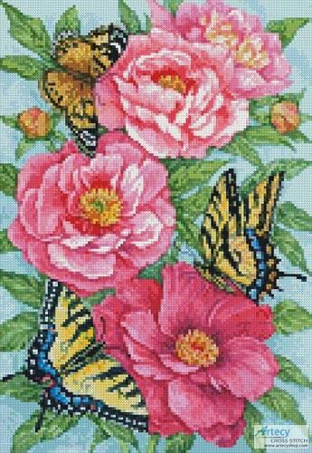 cross stitch pattern Mini Peonies and Butterflies