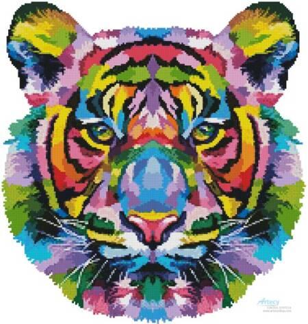 cross stitch pattern Mini Pop Art Tiger