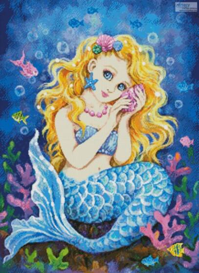 cross stitch pattern Mermaid Call