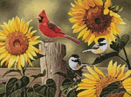 cross stitch pattern Mini Sunflowers and Songbirds