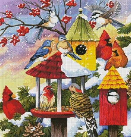 cross stitch pattern Meeting at the Bird Feeder (Crop)