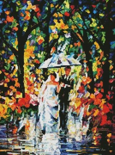 cross stitch pattern Mini Wedding under the Rain