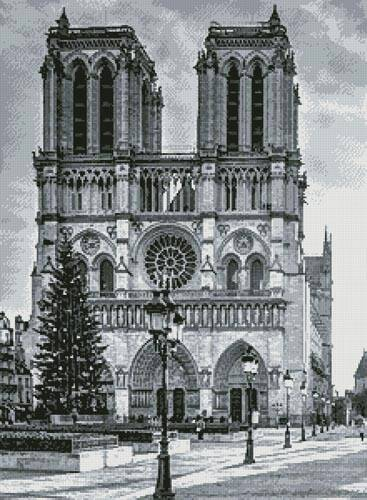 cross stitch pattern Notre Dame Black and White