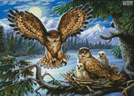 cross stitch pattern Night Owl Family