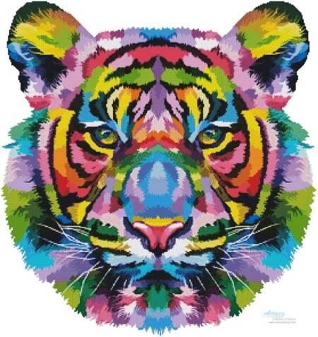 cross stitch pattern Pop Art Tiger