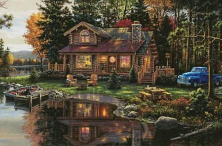 cross stitch pattern Peace River Cabin
