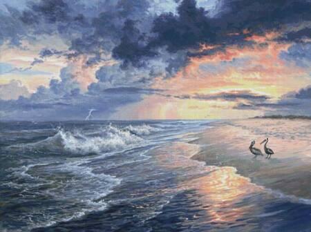 cross stitch pattern Pelican Beach (Large)