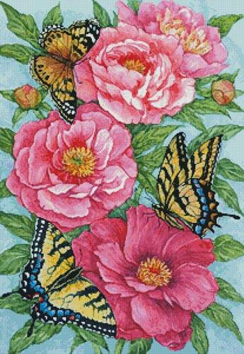 cross stitch pattern Peonies and Butterflies