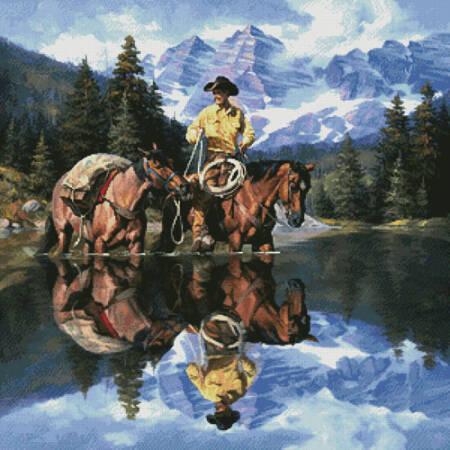 cross stitch pattern Reflections of the Rockies