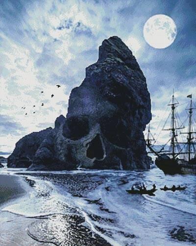 cross stitch pattern Skull Island