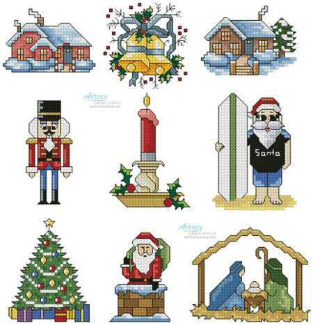 cross stitch pattern SewLittleStitches Christmas Collection 3