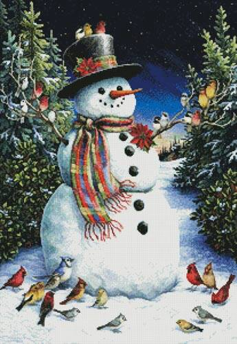 cross stitch pattern Snowman and Feathered Friends