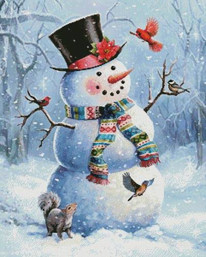 cross stitch pattern Snowman and Friends