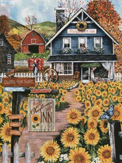 cross stitch pattern The Sunflower Inn