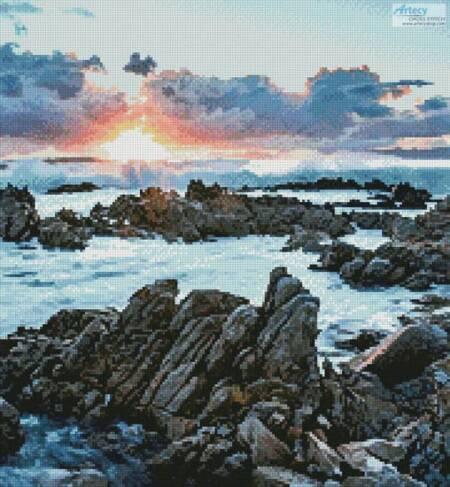 cross stitch pattern Sunset over Rocks at Gansbaai (Crop)