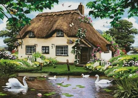cross stitch pattern Swan Cottage
