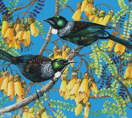 cross stitch pattern Tuis and Kowhai