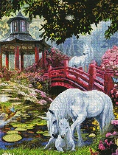 cross stitch pattern Unicorn Summer House (Crop)