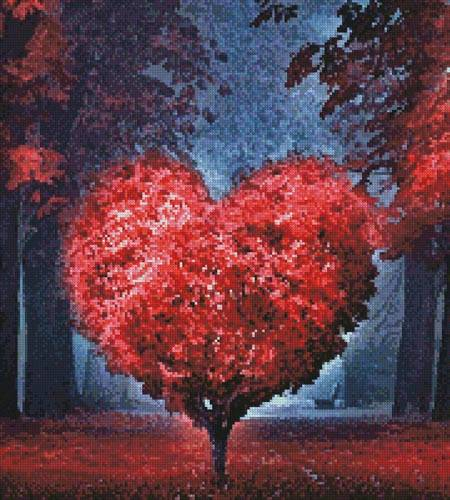 cross stitch pattern Valentine Heart Tree (Crop)