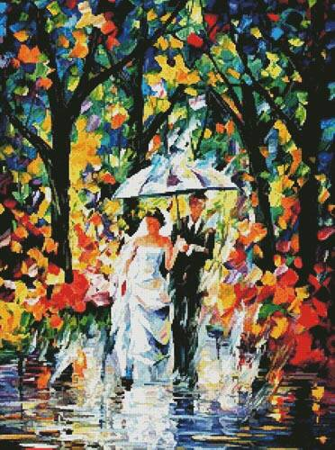 cross stitch pattern Wedding under the Rain