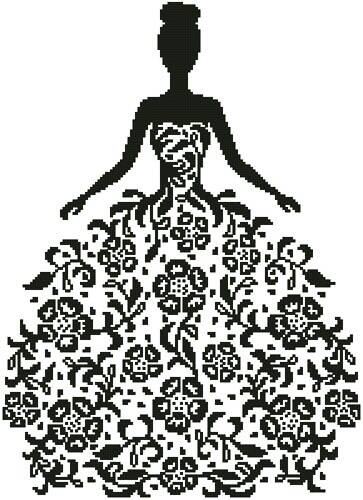 cross stitch pattern Woman Silhouette with Flowers