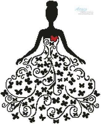 cross stitch pattern Woman Silhouette with Butterflies
