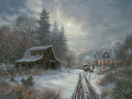cross stitch pattern Winter Homeplace (Large)