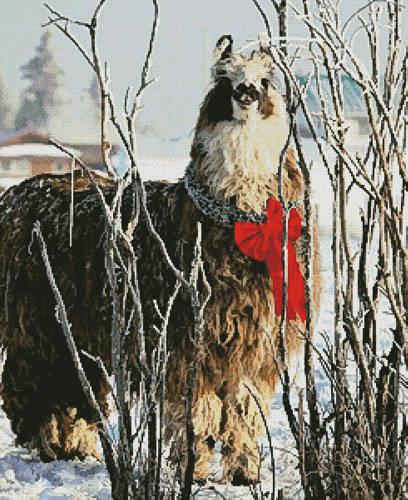 cross stitch pattern Christmas Llama