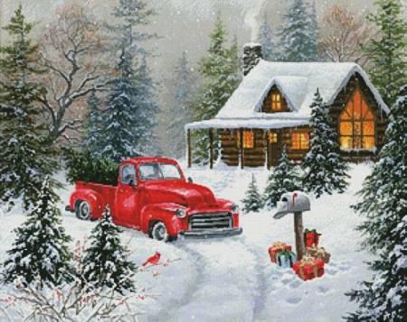 cross stitch pattern Christmas Tree Cabin