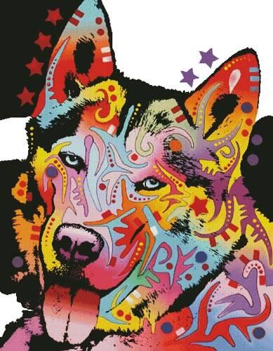 cross stitch pattern Abstract Siberian Husky (Large)