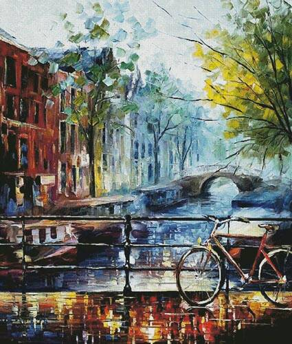 cross stitch pattern Bicycle in Amsterdam (Large)