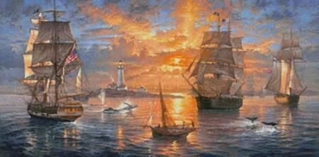 cross stitch pattern Boston Harbor Sunset