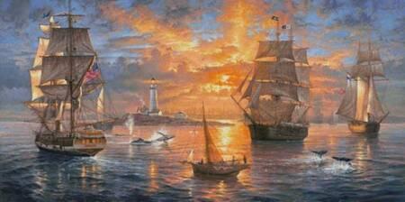 cross stitch pattern Boston Harbor Sunset (Large)
