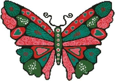 cross stitch pattern Butterfly Hearts