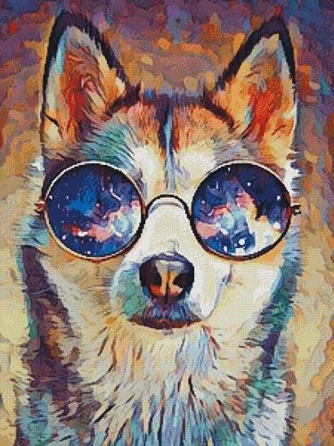 cross stitch pattern Cool Abstract Husky