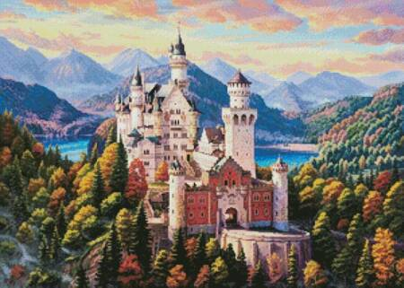 cross stitch pattern Castle in the Mountains