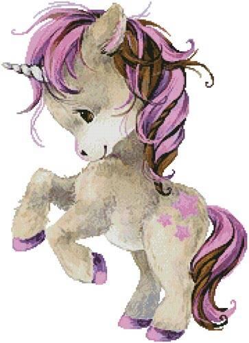 cross stitch pattern Cute Plum Unicorn