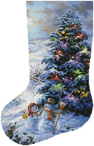 cross stitch pattern Country Shopping Stocking (Left)