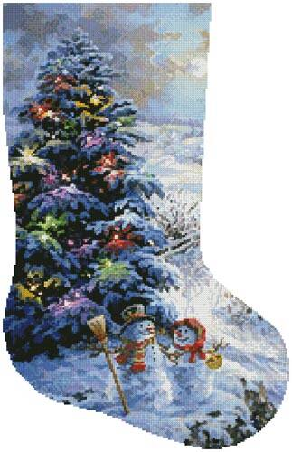 cross stitch pattern Country Shopping Stocking (Right)