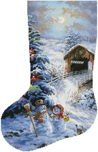 cross stitch pattern Country Shopping Stocking (Left 2)