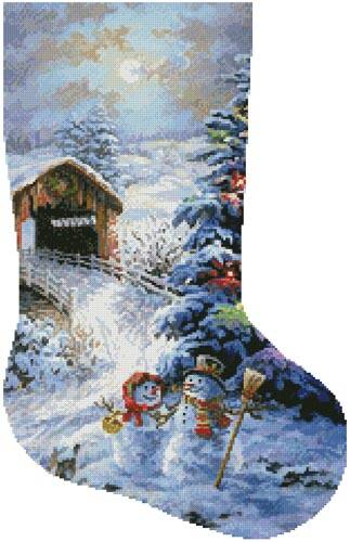 cross stitch pattern Country Shopping Stocking (Right 2)