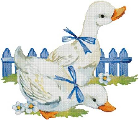 cross stitch pattern Ducks with Bows