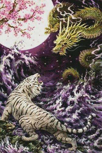 cross stitch pattern Dragon and Tiger in the Moonlight