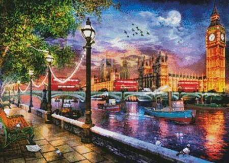 cross stitch pattern Evening Sunset at Parliament London