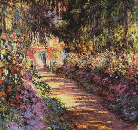 cross stitch pattern Garden Path at Giverny