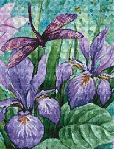 cross stitch pattern Irises and Dragonflies (Crop)