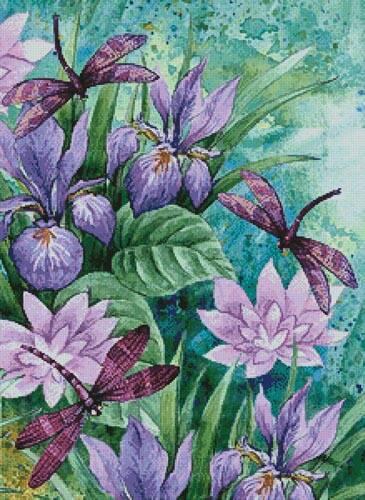 cross stitch pattern Irises and Dragonflies